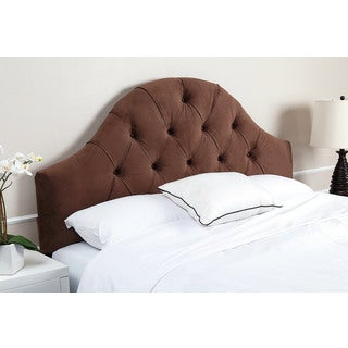Abbyson York Tufted Arch Brown Velvet Headboard