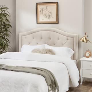 Abbyson Hillsdale Tufted Nailhead Trim Ivory Velvet Headboard|https://ak1.ostkcdn.com/images/products/9834037/P16997684.jpg?impolicy=medium