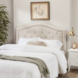 Abbyson Hillsdale Tufted Nailhead Trim Ivory Velvet Headboard (3 options available)
