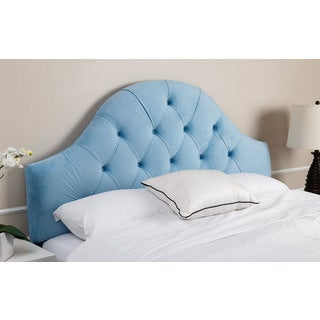 ABBYSON LIVING York Tufted Arch Sky Blue Velvet Headboard