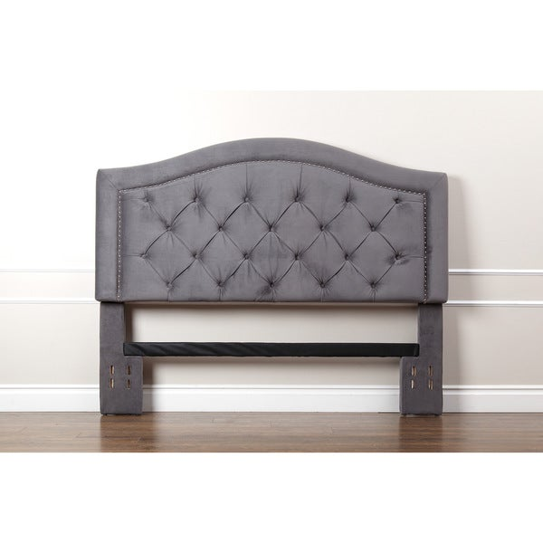 abbyson hillsdale tufted nailhead trim grey velvet headboard free shipping today