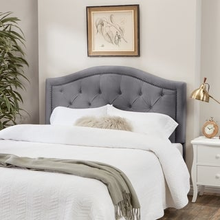 Link to Abbyson Hillsdale Tufted Nailhead Trim Grey Velvet Headboard Similar Items in Bedroom Furniture