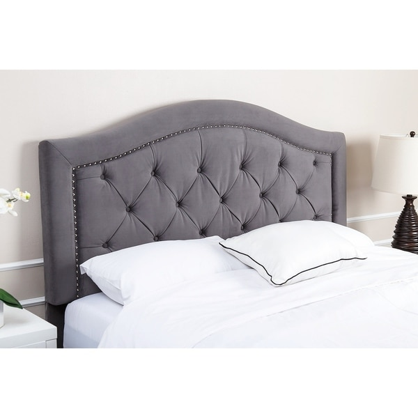 Shop Abbyson Hillsdale Tufted Nailhead Trim Grey Velvet
