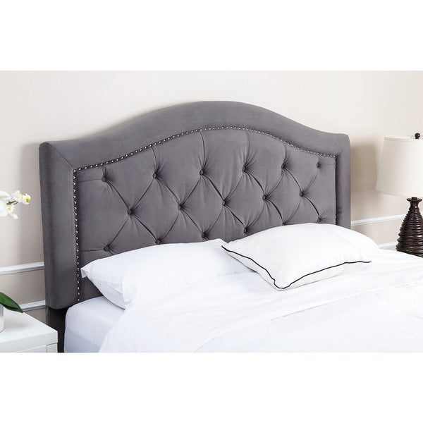 abbyson hillsdale tufted grey velvet headboard free shipping today 16997687. Black Bedroom Furniture Sets. Home Design Ideas