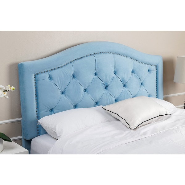 Shop Abbyson Living Hillsdale Tufted Sky Blue Velvet