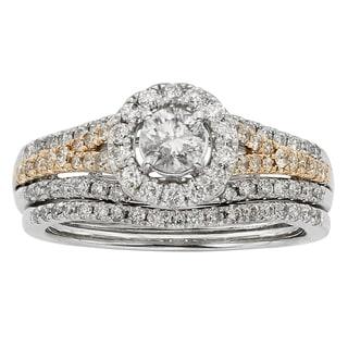 Sofia 14k Two-tone Gold 1ct TDW Diamond Wedding Band
