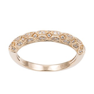 Sofia 14k Gold 1/5ct TDW Diamond Filigree Wedding Band