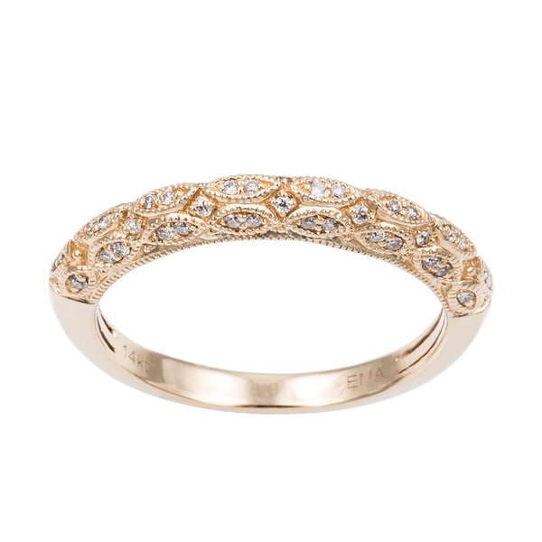 Sofia 14k Gold 1 5ct TDW Diamond Filigree Wedding Band