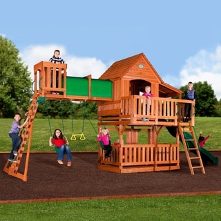 "Backyard Discovery Woodridge II All Cedar Swing Set - 141""H x 396""W x 120""L"