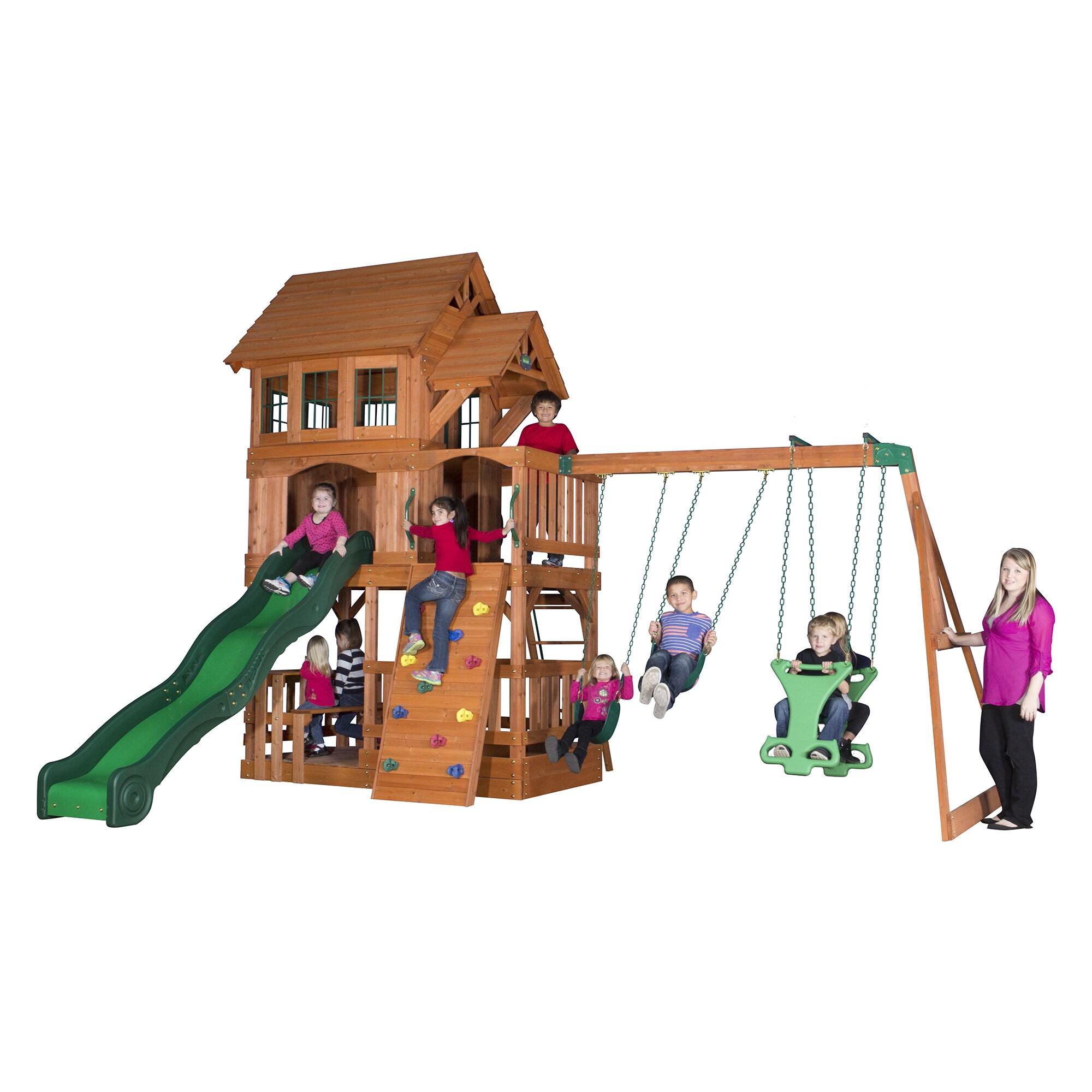 Backyard Discovery Liberty Ii All Cedar Swing Set On Sale Overstock 9834095