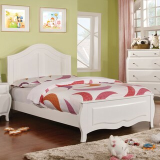 Furniture of America Nisc Modern White Solid Wood Youth Panel Bed