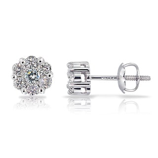 14k White Gold 1/3ct TDW Diamond Cluster Stud Earrings (G-H, I1-I2)