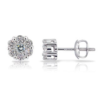 14k White Gold 1/3ct TDW Diamond Cluster Stud Earrings