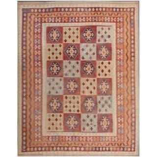 Herat Oriental Afghan Hand-woven Tribal Kilim Gray/ Beige Wool Rug (9'9 x 12'10)