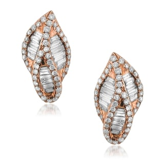 Montebello 14k Rose Gold 1ct TDW Baguette and Round-cut Diamond Stud Earrings (G-H, VS1-VS2)