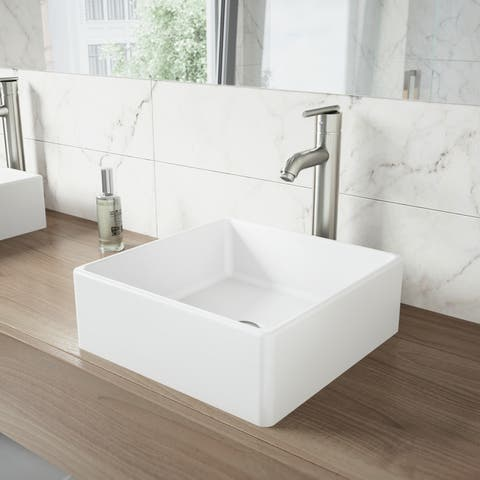 VIGO Dianthus Matte White Stone Vessel Bathroom Sink