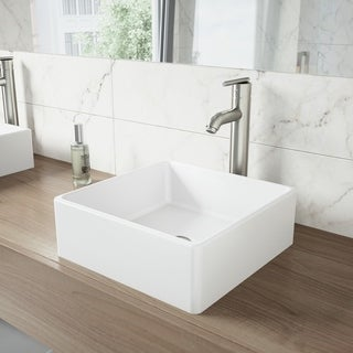 VIGO Dianthus Matte Stone Vessel Bathroom Sink