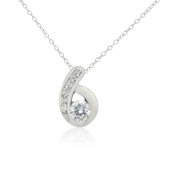 d3e8a6e4fb Shop Sterling Silver Cubic Zirconia #6 Pendant Necklace - Free ...