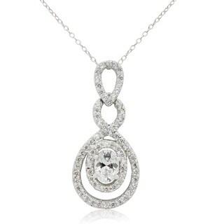 Sterling Silver Oval-cut Cubic Zirconia Designer Pendant Necklace