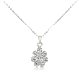 Sterling Silver Pear-cut Cubic Zirconia Pendant Necklace