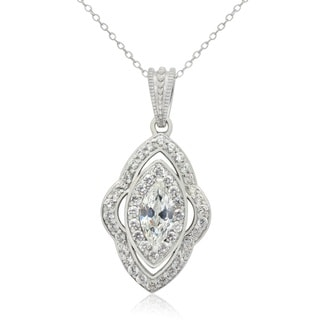 Sterling Silver 2 tcw Cubic Zirconia Designer Pendant Necklace