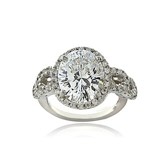 Icz Stonez Sterling Silver 100 Facet Cubic Zirconia Bridal Ring
