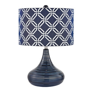 Dimond Peebles Navy Blue 1-light Textured Ceramic Table Lamp