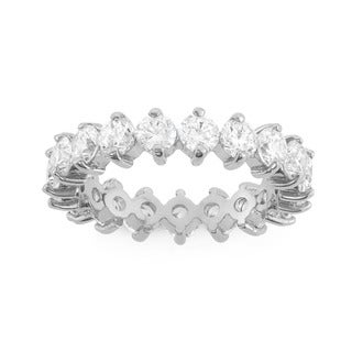 Gioelli Sterling Silver 3.5mm Round-cut Cubic Zirconia Eternity Ring