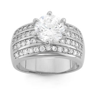 Sterling Silver 8mm Round-cut Cubic Zirconia Band Ring