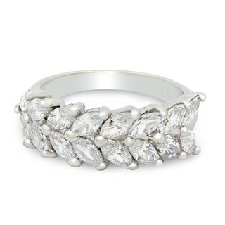 Sterling Silver 2.24 tcw Marquise-cut Cubic Zirconia Ring