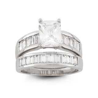 Sterling Silver 8 x 6 Emerald-cut Cubic Zirconia Band Ring