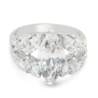Sterling Silver 14x7 Marquise-cut Cubic Zirconia Ring