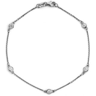 Suzy Levian 14k White Gold 1/10ct TDW Diamonds by the Yard Bracelet (G-H, SI1-SI2)