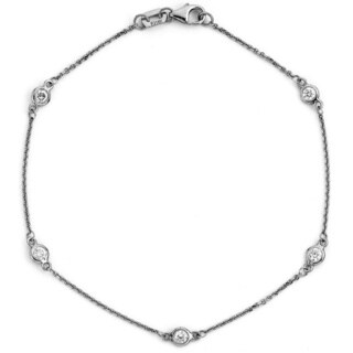 Suzy Levian 14k White Gold 1/10ct TDW Diamond Bracelet