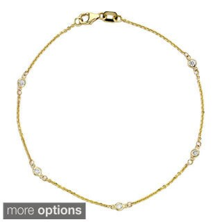 Suzy Levian 14k Gold 1/6ct TDW Diamond Bracelet
