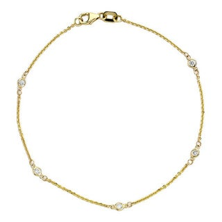 Suzy Levian 14k Yellow Gold 1/7ct TDW Diamond Bracelet