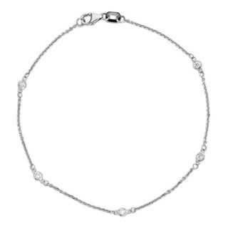 Suzy Levian 14k White Gold 1/7ct TDW Diamonds by the yard Bracelet (G-H, SI1-SI2)