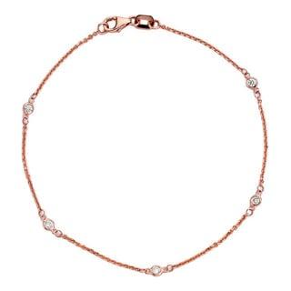 Suzy Levian 14k Rose Gold 1/7ct TDW Diamond Bracelet