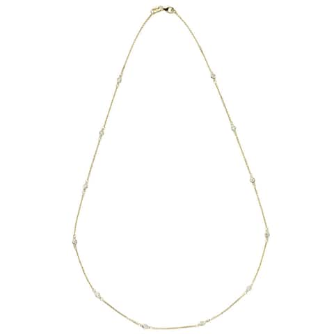 Suzy Levian 14K Gold 1/3ct TDW Bezel Diamond Station Necklace