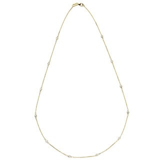 Suzy Levian 14K Gold 1/3ct TDW Bezel Diamond by the Yard Station Necklace