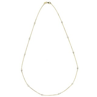 Suzy Levian 14K Gold 1/3ct TDW Bezel Station Necklace