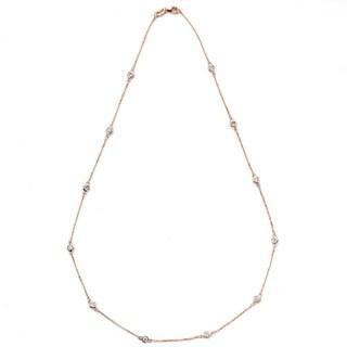 Suzy Levian 14K Gold 1/3ct TDW Bezel Diamond by the Yard Station Necklace