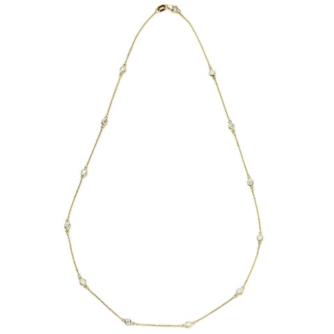 Suzy Levian 14k Gold 3/4ct TDW Station Necklace