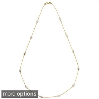 Suzy Levian 14k Gold 2 3/5ct TDW Diamond Station Necklace