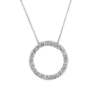 Suzy Levian 14k White Gold 1ct TDW Diamond Circle Pendant (G-H, SI1-SI2)