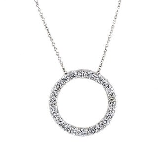 Suzy Levian 14k White Gold 1ct TDW Diamond Circle Pendant