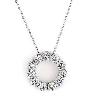 Suzy Levian 14k White Gold 2ct TDW Diamond Circle Pendant (G-H, SI1-SI2)