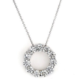 Suzy Levian 14k White Gold 2ct TDW Diamond Circle Pendant
