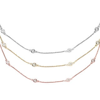 Suzy Levian 14k Gold 1 1/3ct TDW Diamonds by the Yard Station Necklace (G-H, SI1-SI2)