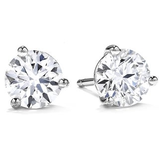 Suzy Levian 14k White Gold Diamond 3-prong Martini Stud Earrings